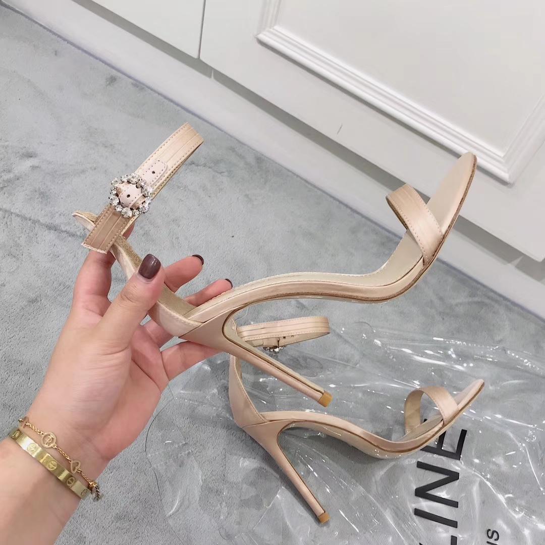 GIANVITO ROSSI女款凉鞋2018新款水钻搭扣高跟凉鞋