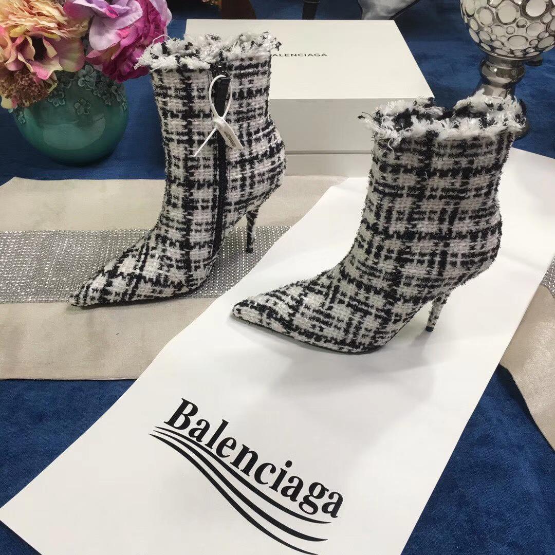 巴黎世家Balenciaga 2018新款毛呢短靴