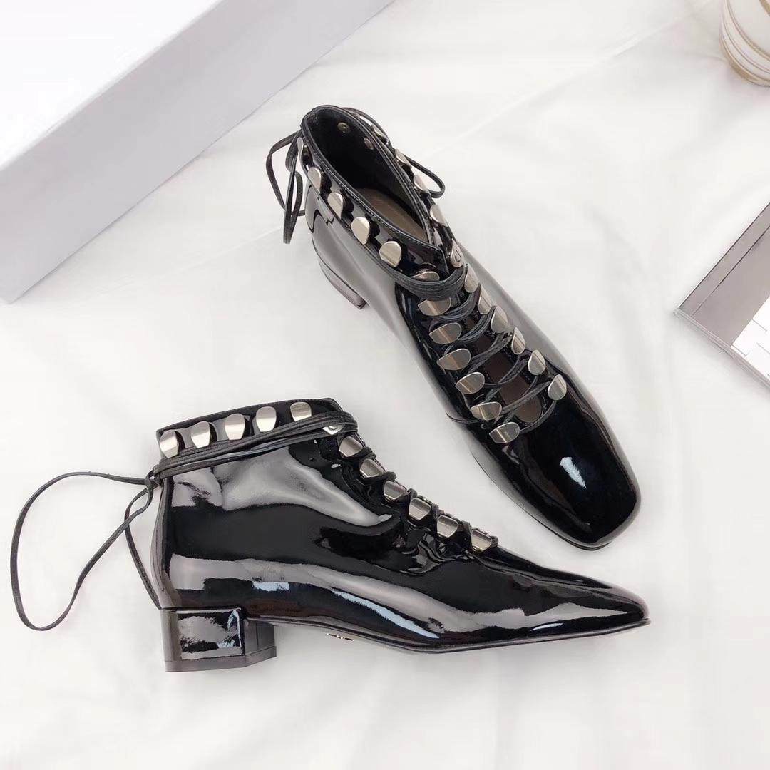 Dior迪奥2018ss秋冬新款绑带真皮短靴女鞋