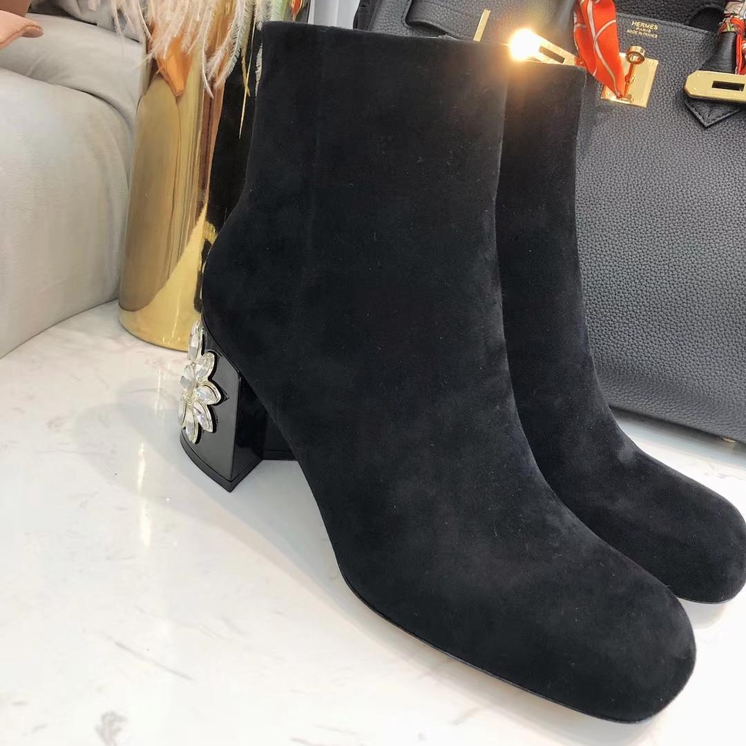 Miumiu短靴 2018官网新款代购品质真皮短靴