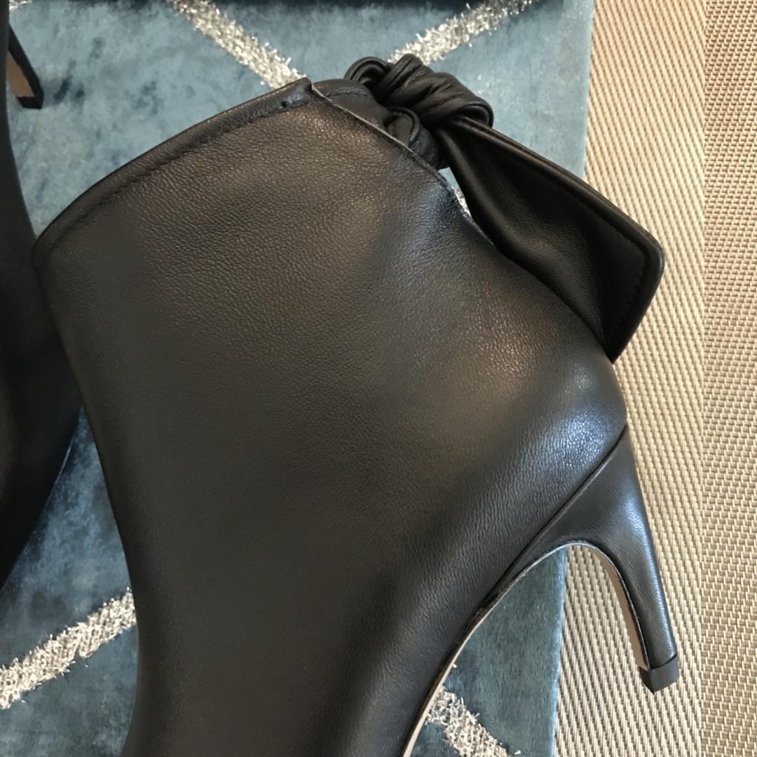 Dior短靴2018秋冬新款女款系带蝴蝶结尖头裸靴