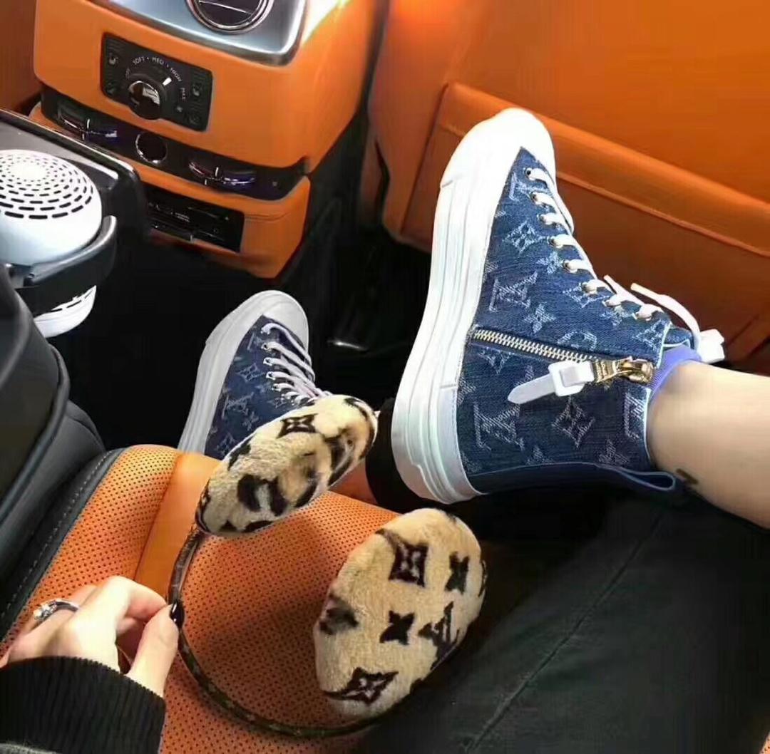 LV牛仔高帮鞋 LV高仿休闲帆布鞋