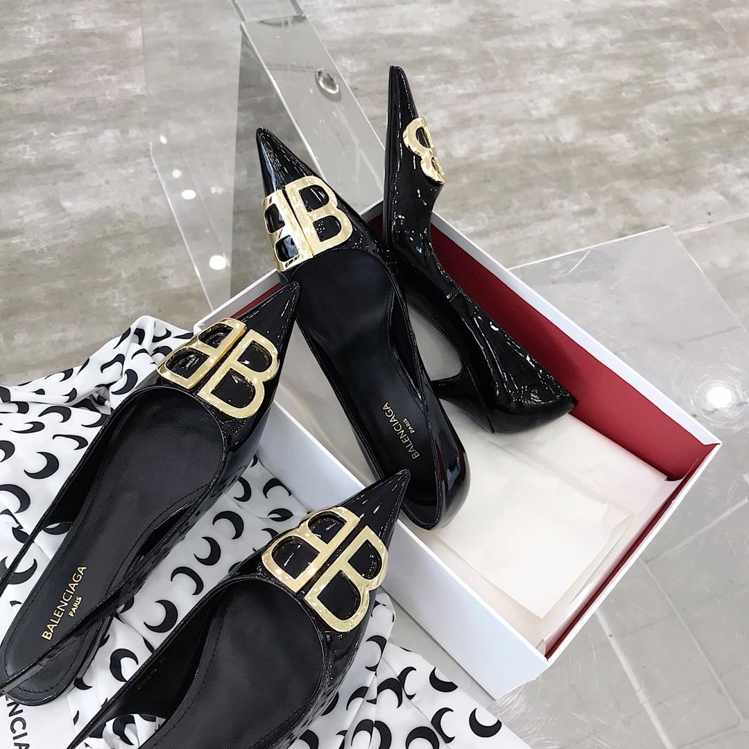Balenciaga高跟鞋 巴黎世家19春夏漆皮双B装饰尖头高跟鞋