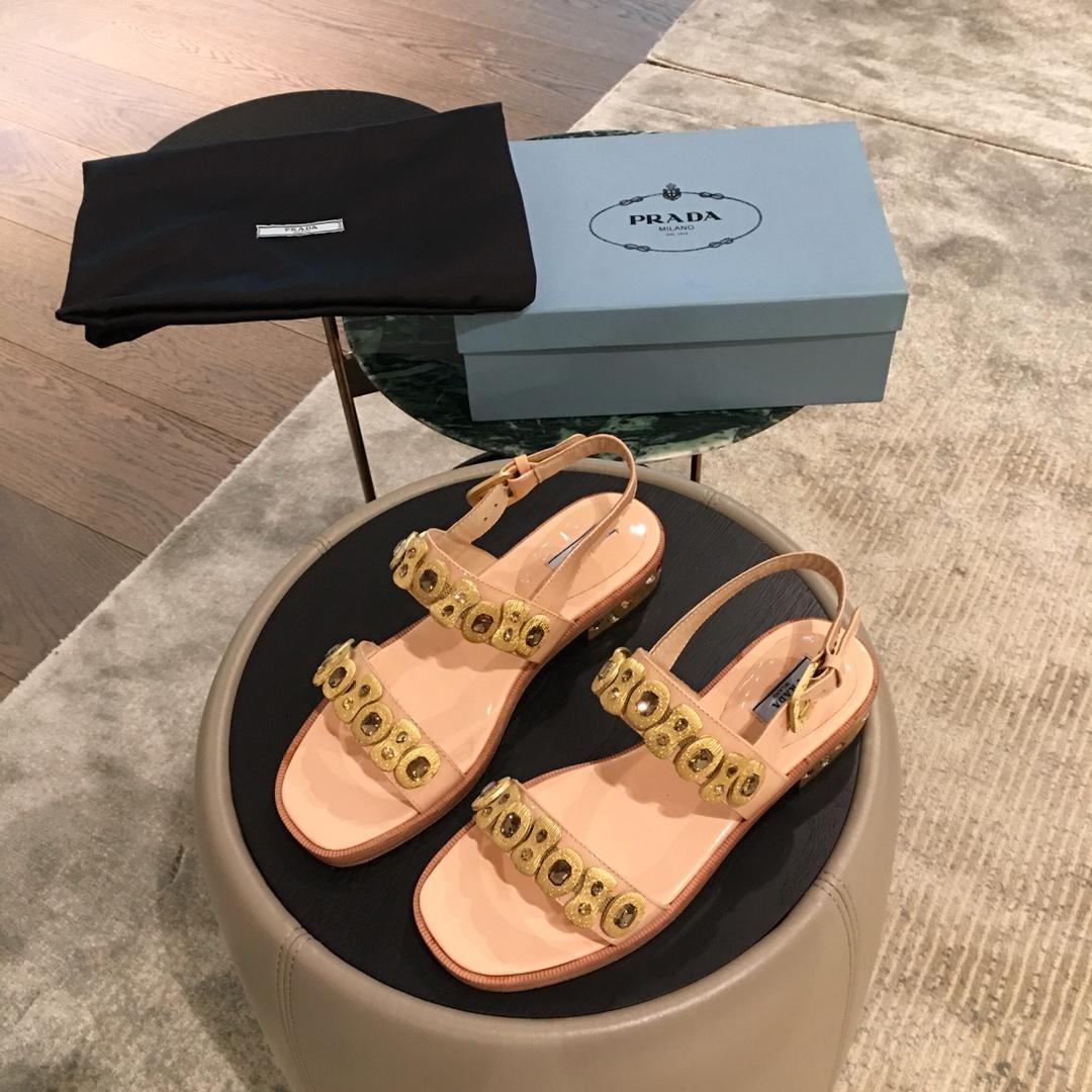 PRADA凉鞋普拉达 2019专柜早春最新款女式凉鞋 正品开模