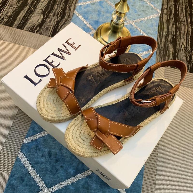 LOEWE新款凉鞋19ss双层组合麻绳厚底凉鞋