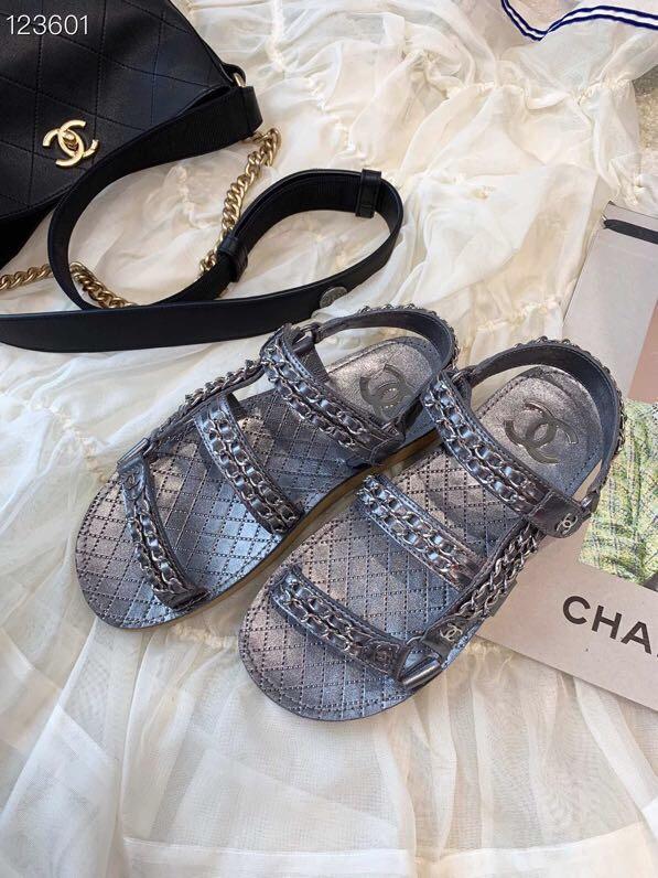 chanel新款女士凉鞋 小香经典链条凉鞋