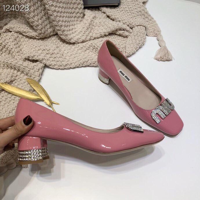 代购级别缪缪单鞋 Miu miu新款水钻粗跟女鞋单鞋