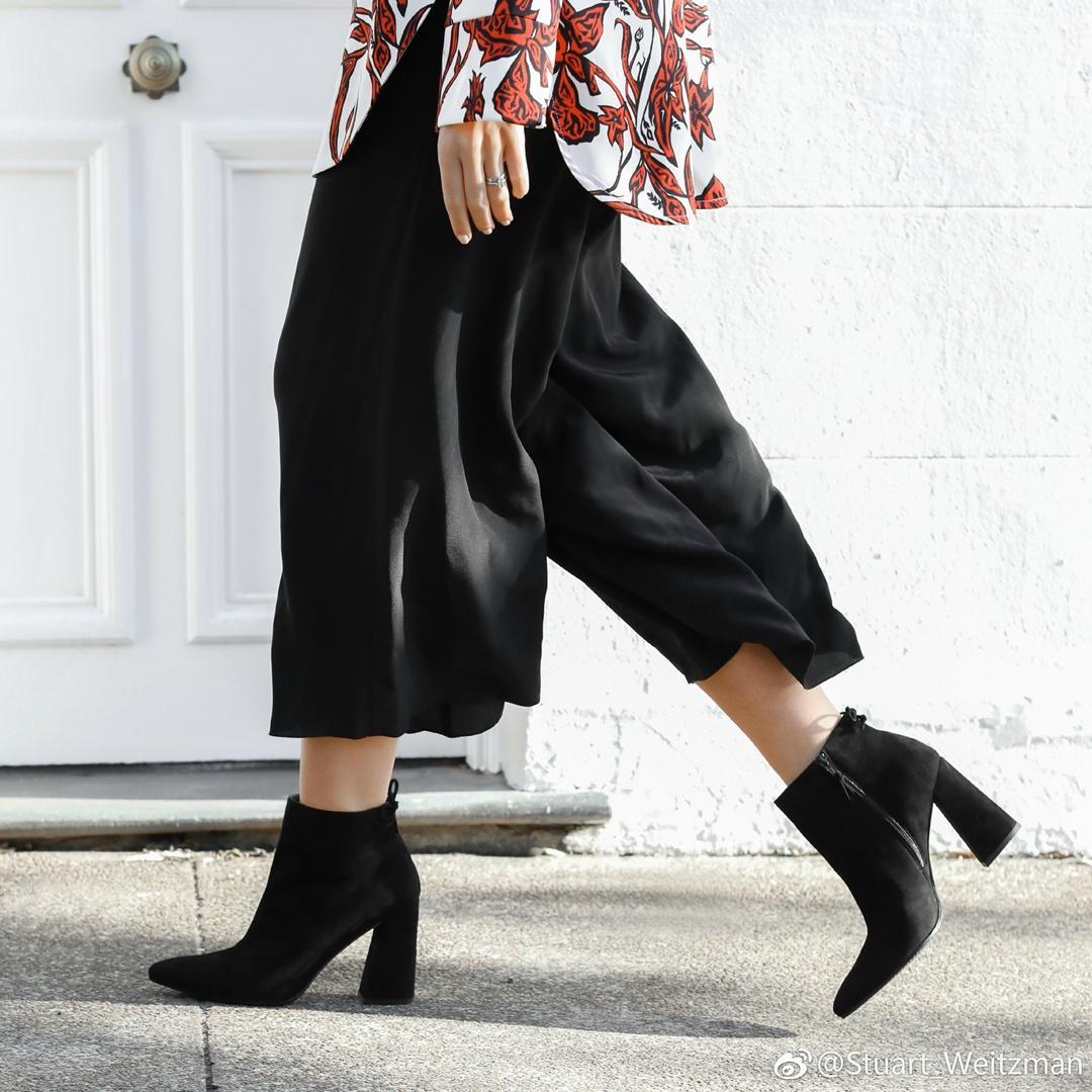 SW女款短靴 Stuart Weitzman新款Lofty粗跟羊京后系带裸靴