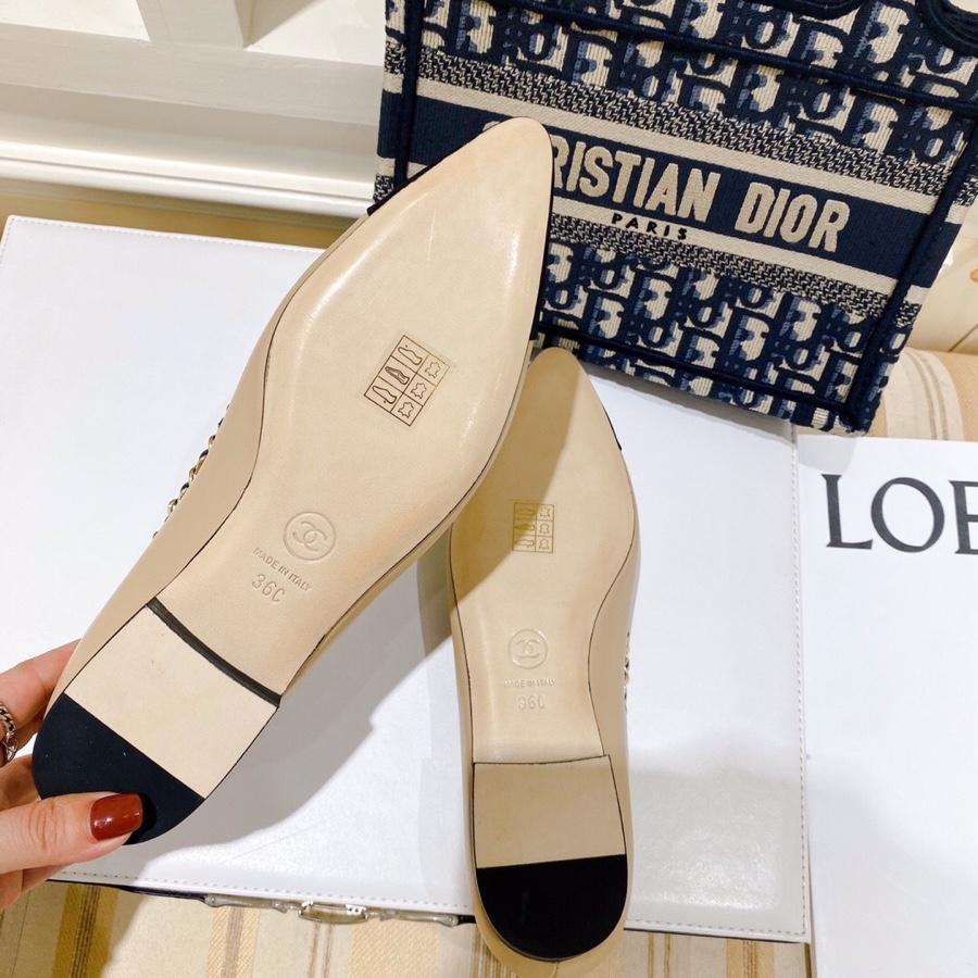CHANEL2020初春新款链条单鞋 平底芭蕾舞鞋