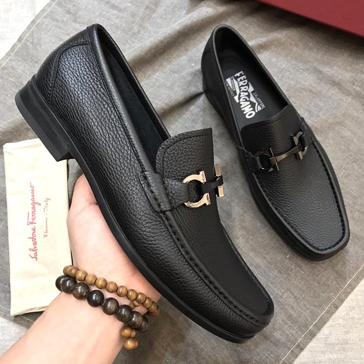 菲拉格慕男鞋 ferragamo经典款男士商务皮鞋 套脚鞋