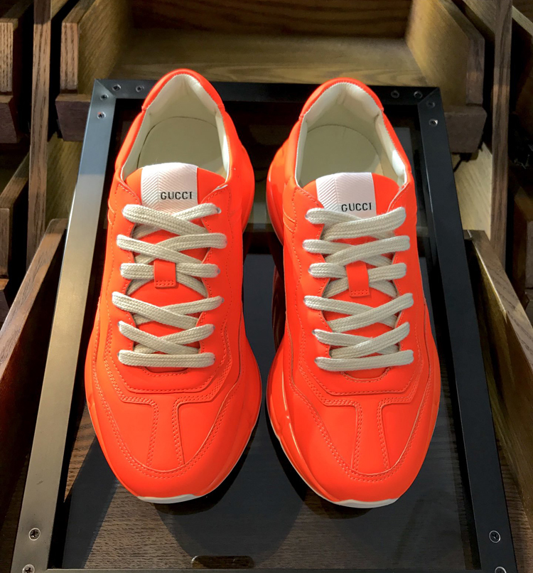 高仿GUCCI老爹鞋 新款Rhyton系列老爹鞋 情侣款运动鞋 桔色