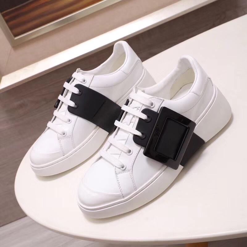 RV女士休闲鞋 新款方扣小白鞋