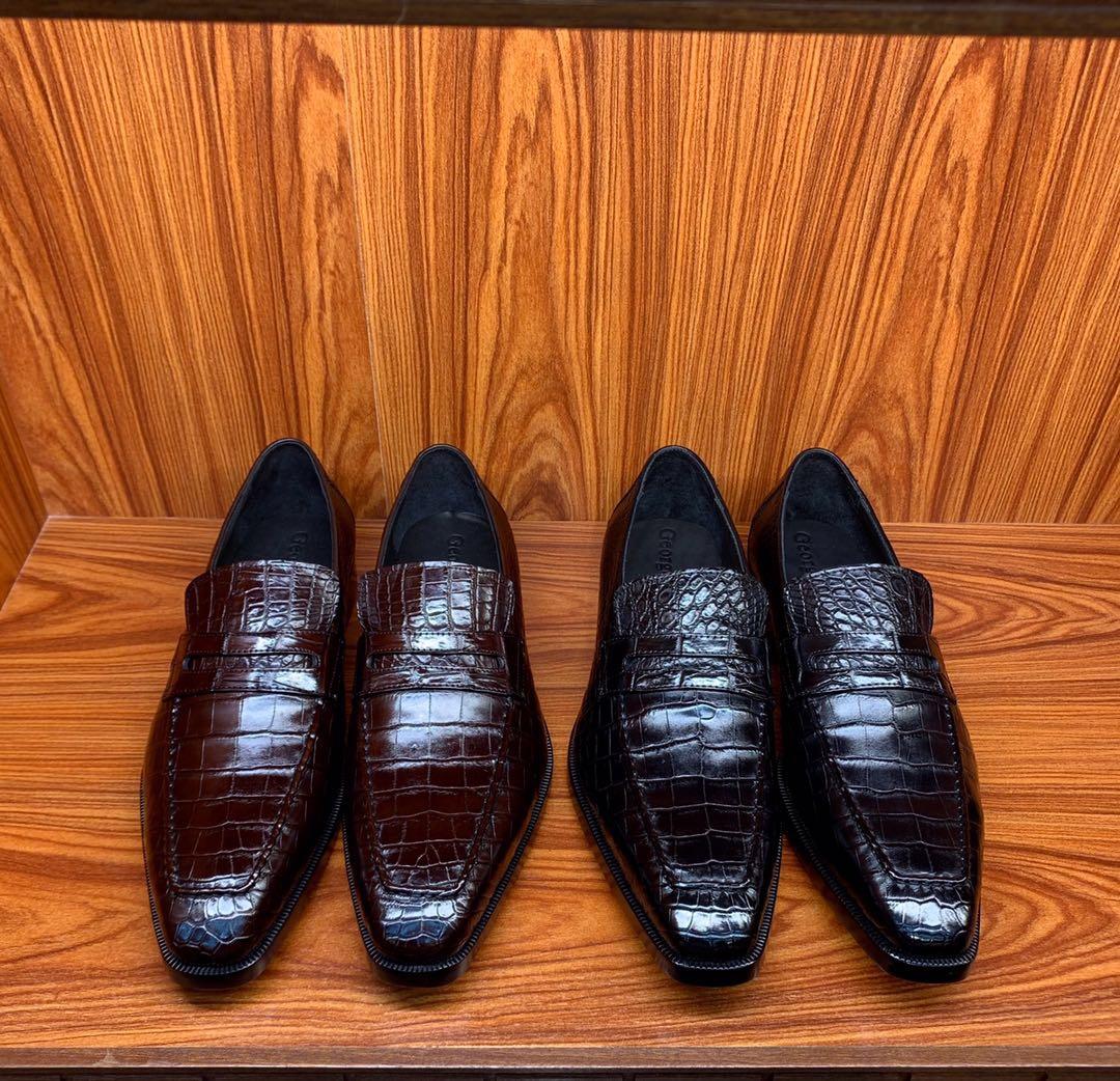 Berluti正装男士皮鞋 纯手工制作berluti鳄鱼皮鞋