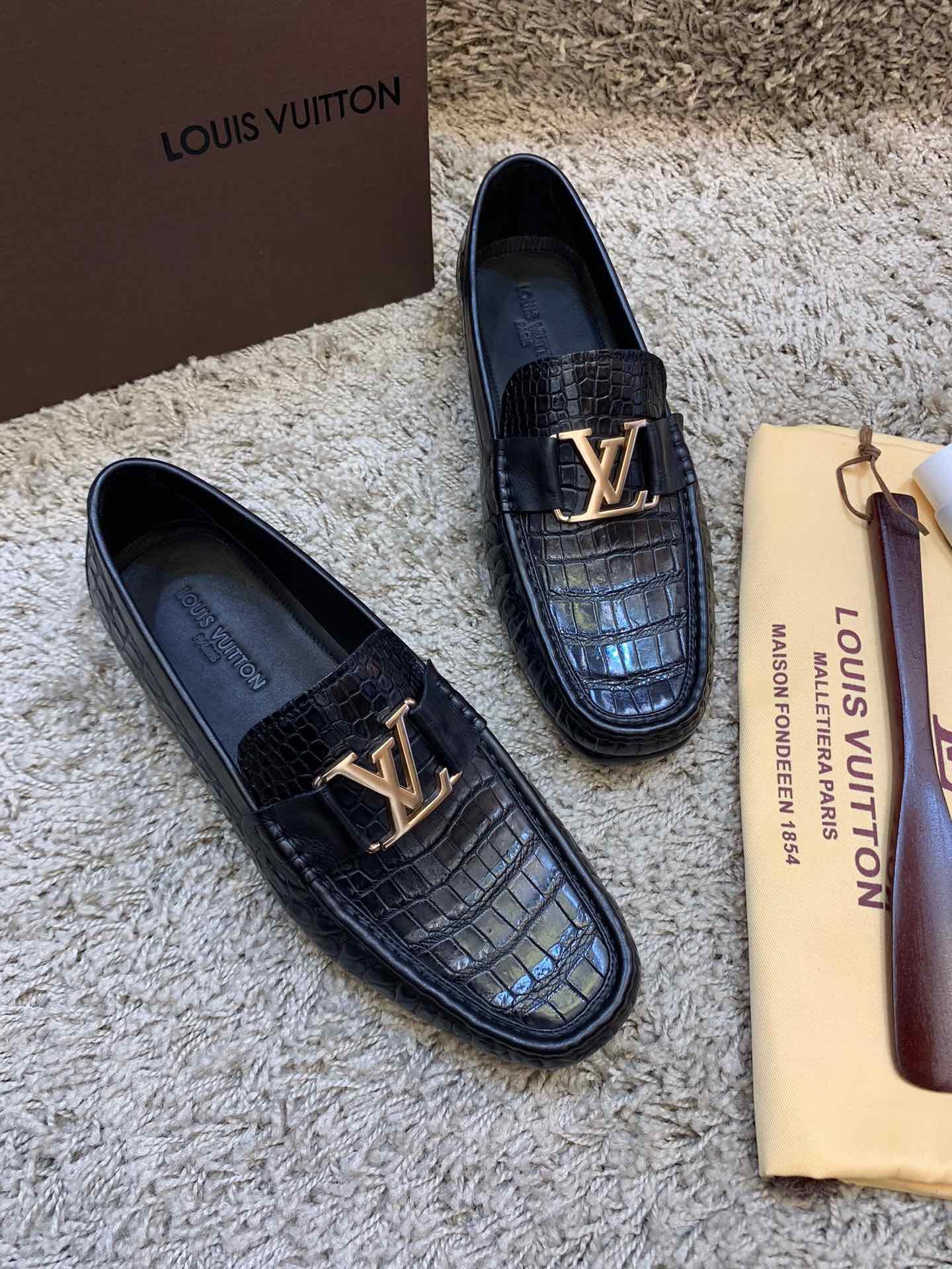 顶级精品LV男士休闲鞋 泰国进口暹罗鳄鱼肚皮LV男鞋